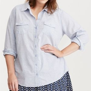 torrid CHAMBRAY CAMP SHIRT Size 3